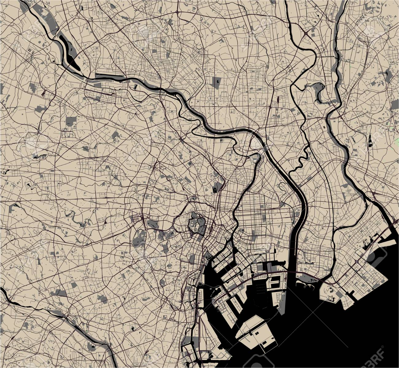 Picture of: Vector Map Of The City Of Tokyo Kanto Island Honshu Japan Royalty Free Cliparts Vectors And Stock Illustration Image 126603114