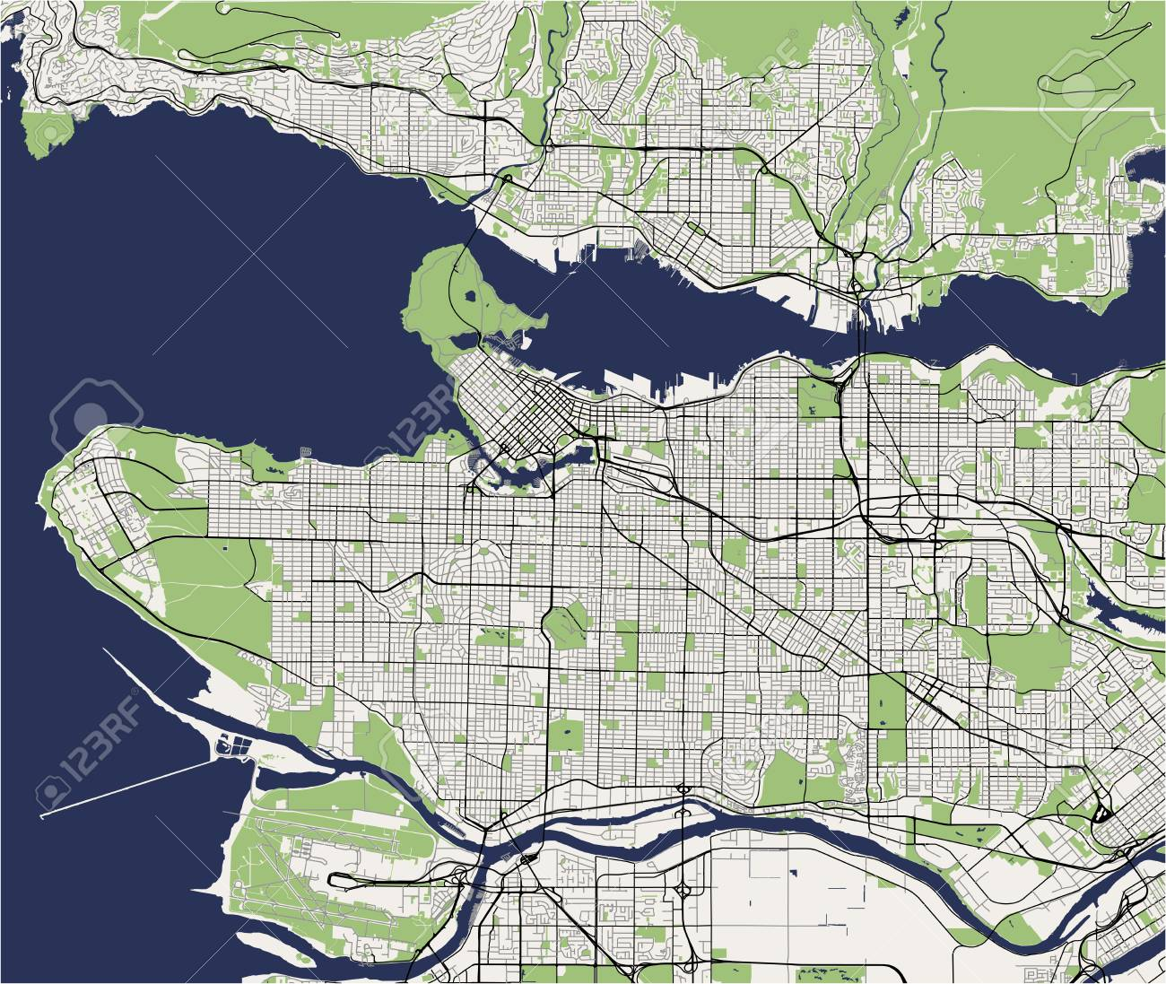 vector map of the city of Vancouver , Canada on map vancouver bc canada, map of victoria and vancouver bc, map vancouver island, map of downtown vancouver,