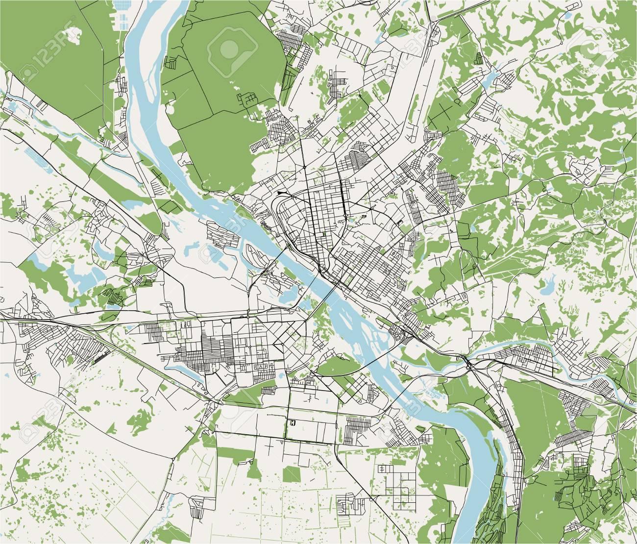 Vector Map Of The City Of Novosibirsk Siberia Russia Lizenzfrei