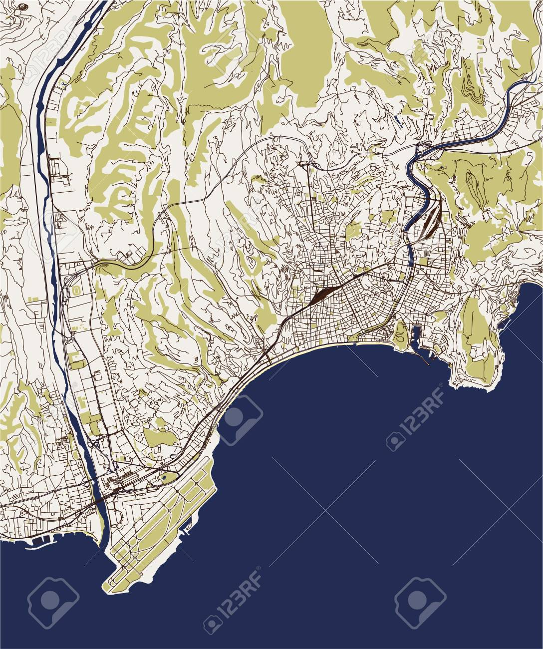 Map Of France French Riviera.Vector Map Of The City Of Nice Provence Alpes Cote Dazur Alpes Maritimes