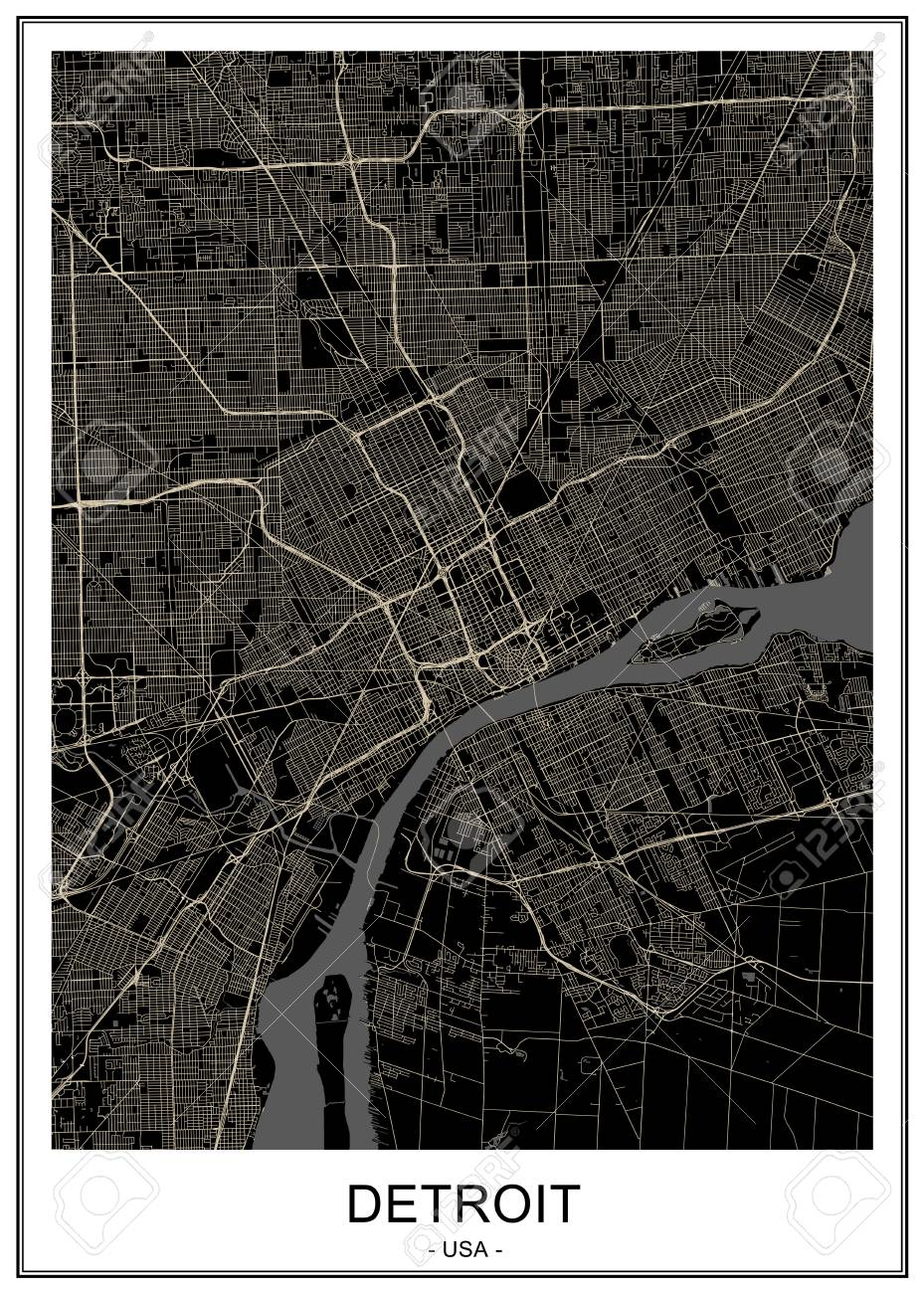 Map Of The City Of Detroit, Michigan, USA Lizenzfrei Nutzbare ... Detroit In Usa Map on