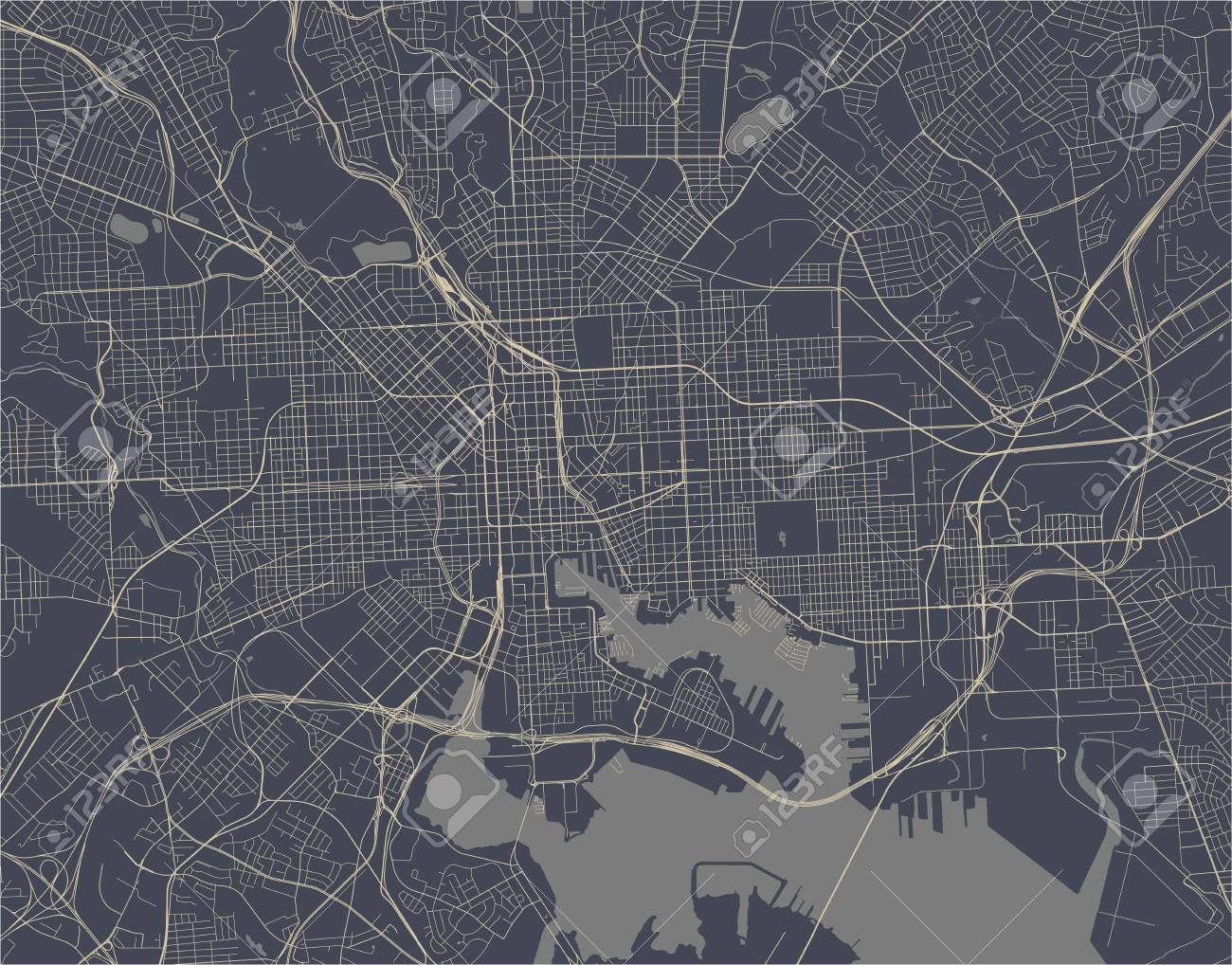 map of the city of Baltimore, Maryland, USA - 123173618