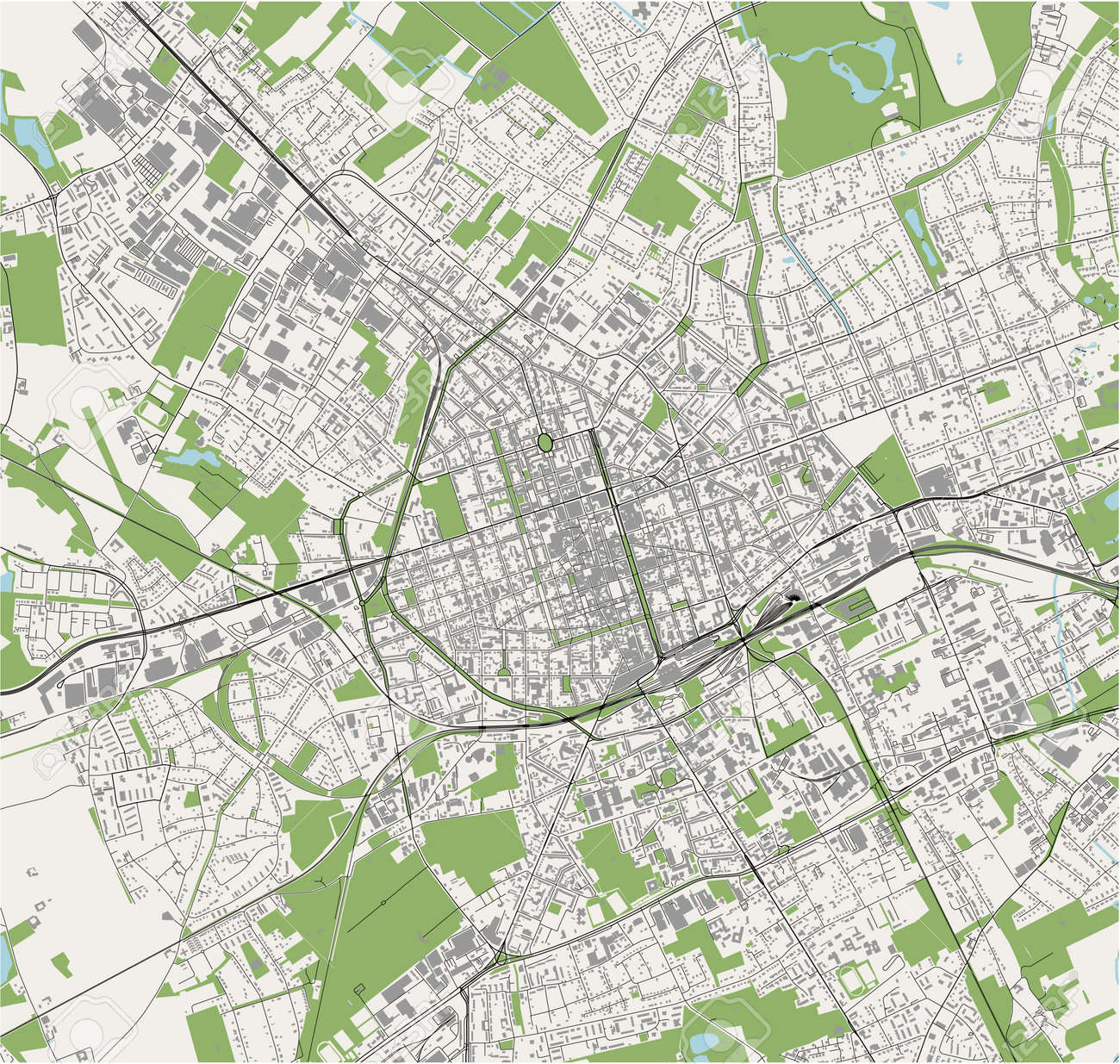 map of the city of Krefeld, Germany - 172162528