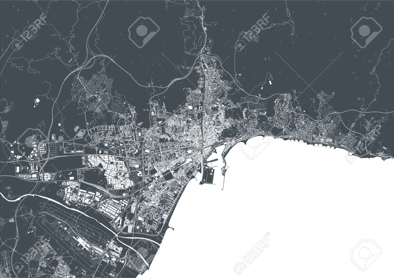 map of the city of Malaga, Spain - 172163135