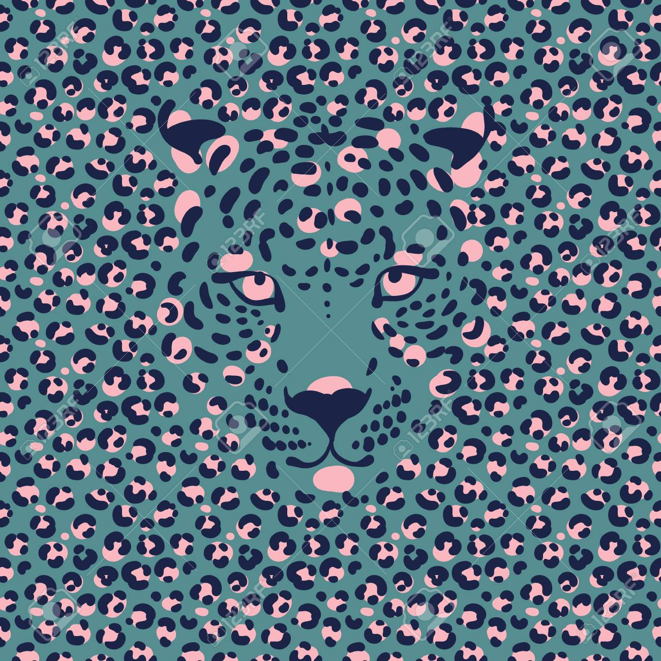 Seamless Wallpaper With A Leopard Print And A Silhouette Of The