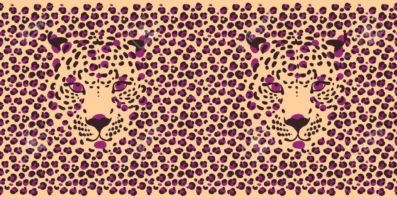 ヒョウ柄とヒョウ 銃口のシルエットでシームレスな壁紙のイラスト素材 ベクタ Image