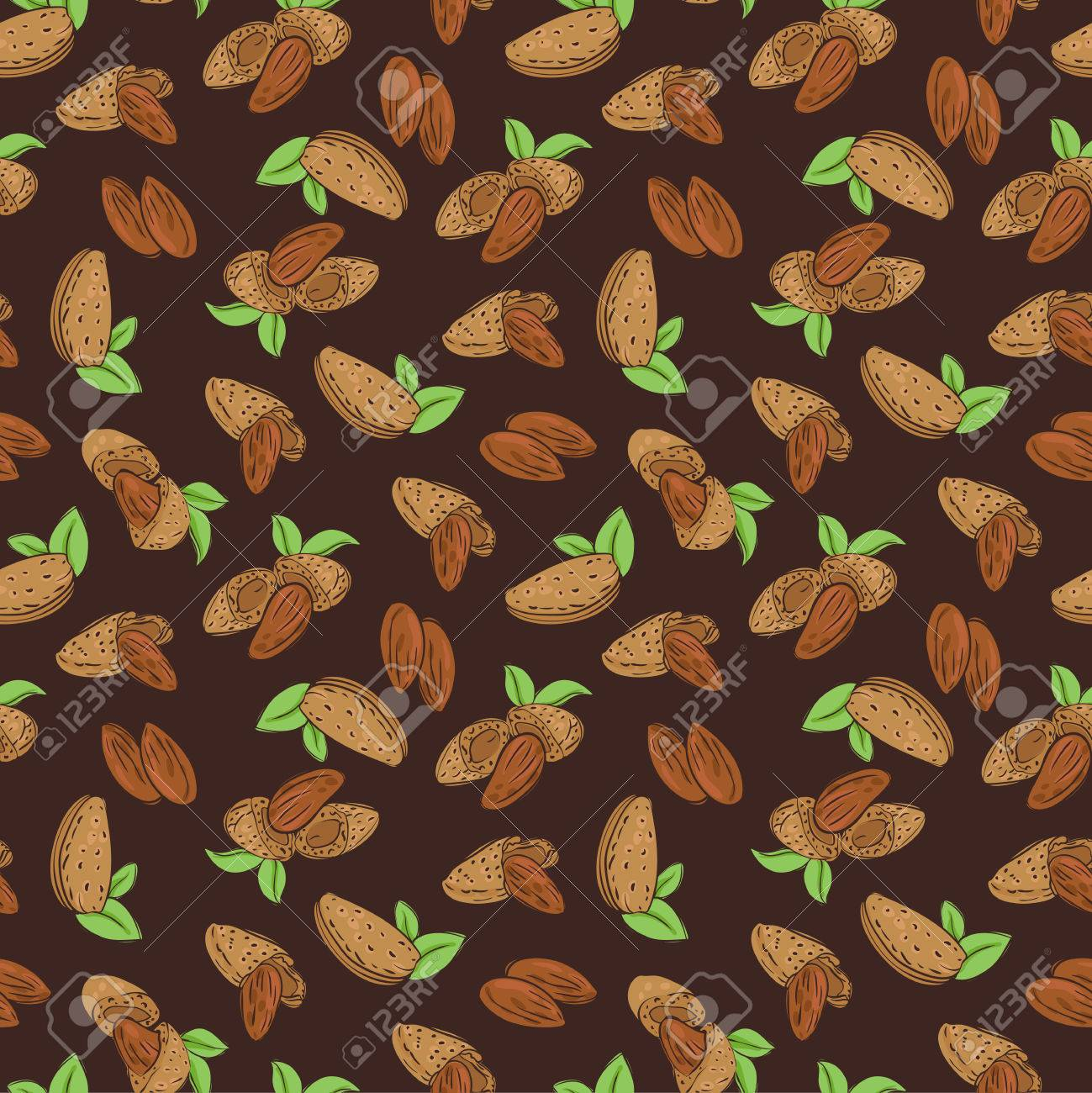 vector seamless wallpaper with almond nuts in different forms