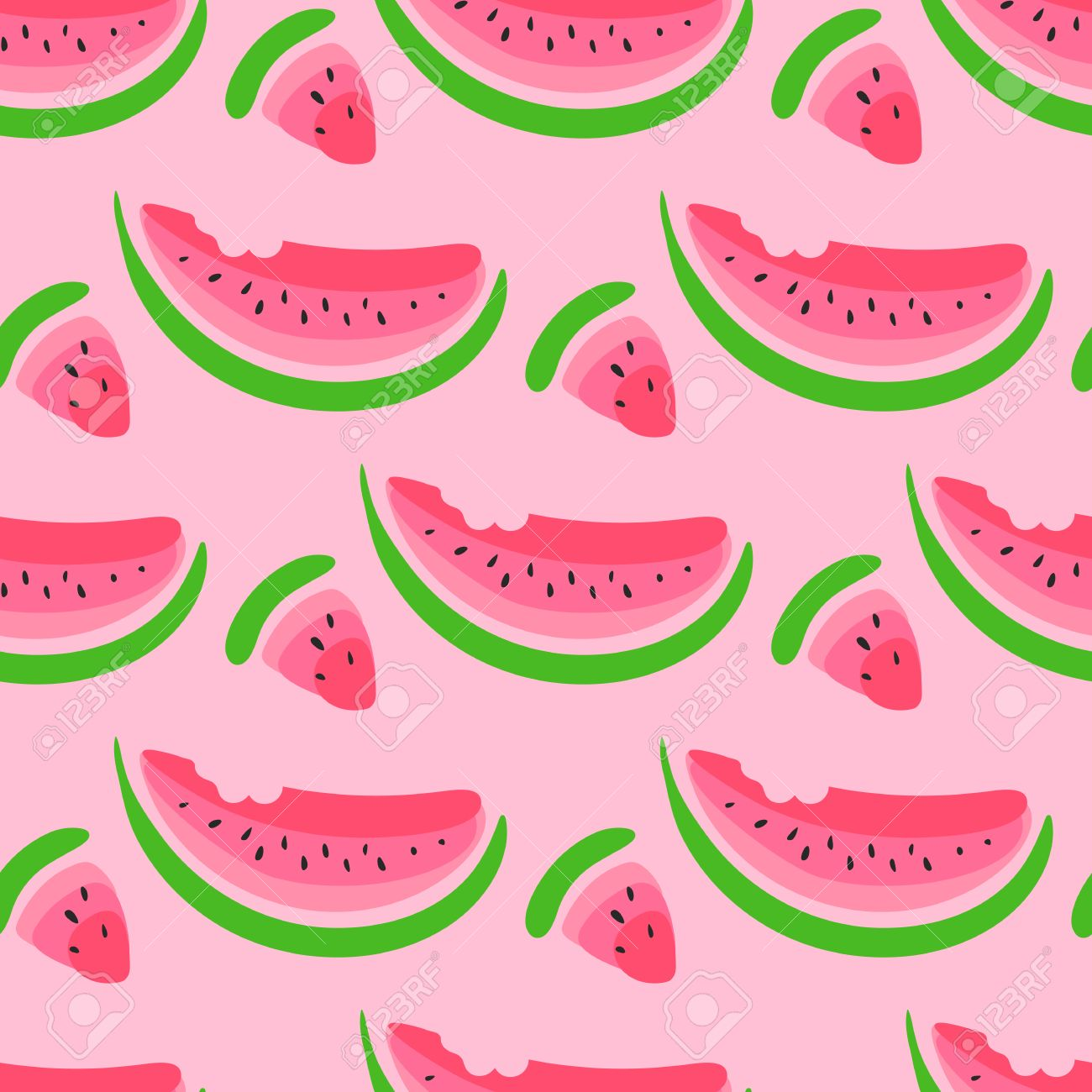 Seamless Wallpaper Pattern With Watermelon Slices Royalty Free
