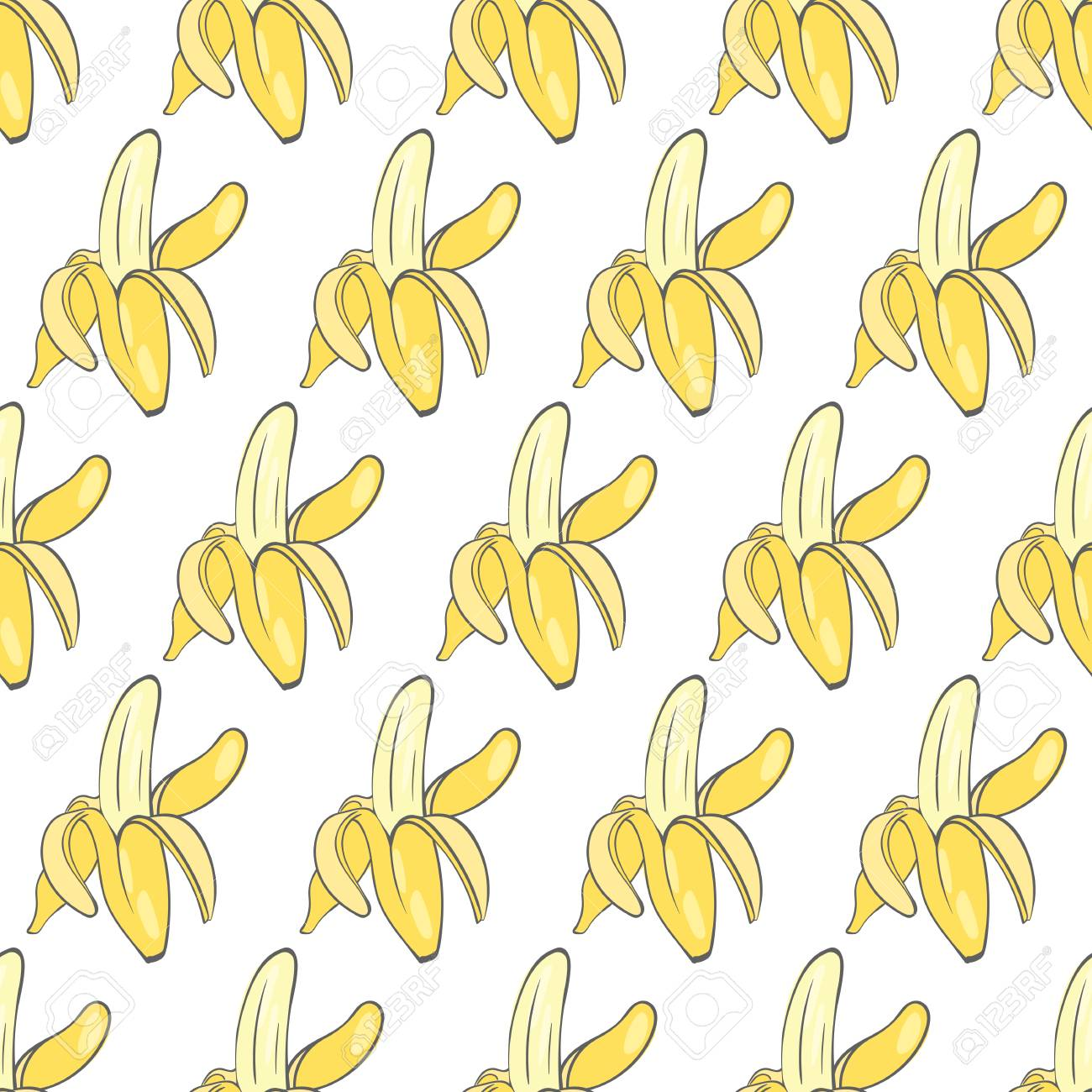 熟したバナナのイメージと印刷のシームレスな壁紙のイラスト素材