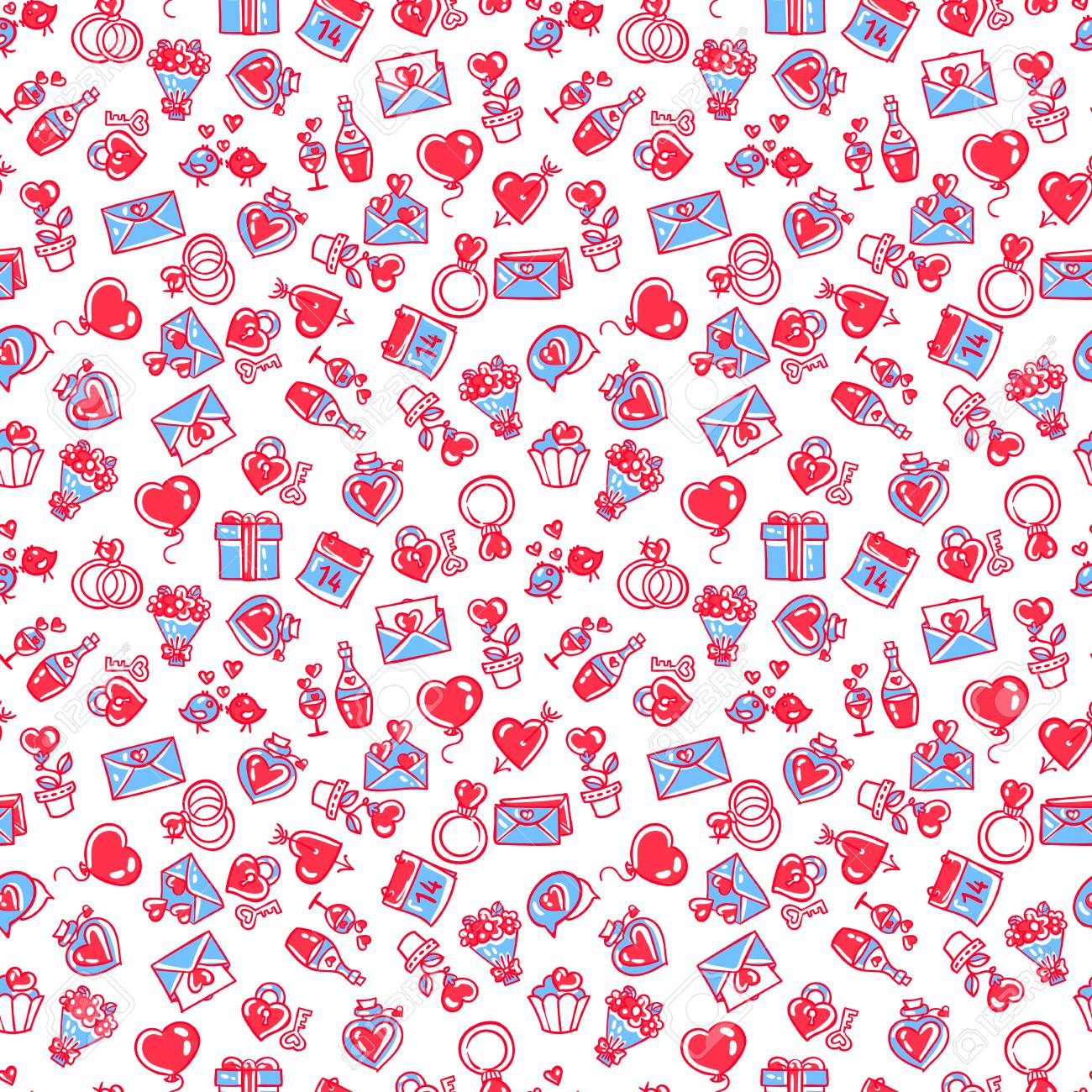 Vector Pattern Seamless Wallpaper On The Theme Of Valentine S