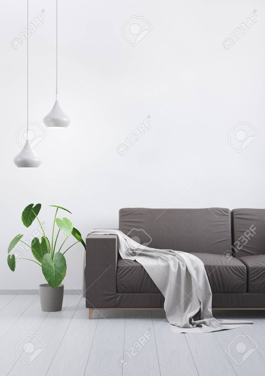 Miraculous Modern Vintage Living Room Brown Leather Sofa On A Grey Wooden Floor And Light Wall Mockup For Your Design 3D Render Gmtry Best Dining Table And Chair Ideas Images Gmtryco