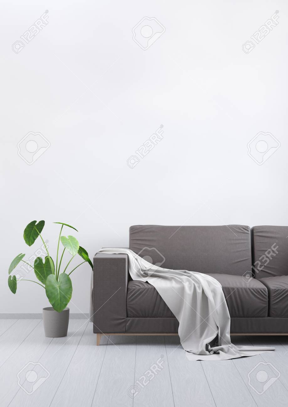 Modern vintage living room. Brown leather sofa on a grey wooden..
