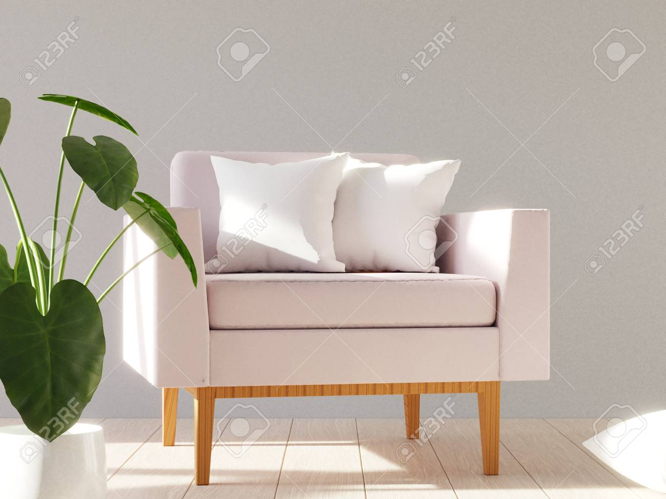 Pleasant Blank White Soft Square Pillow On A Modern Armchair Mockup For Andrewgaddart Wooden Chair Designs For Living Room Andrewgaddartcom