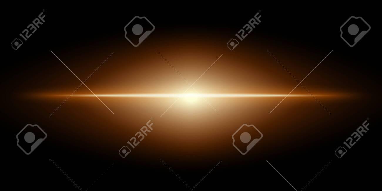 Transparent gold glowing light on a black background. Vector illustration. - 141206592