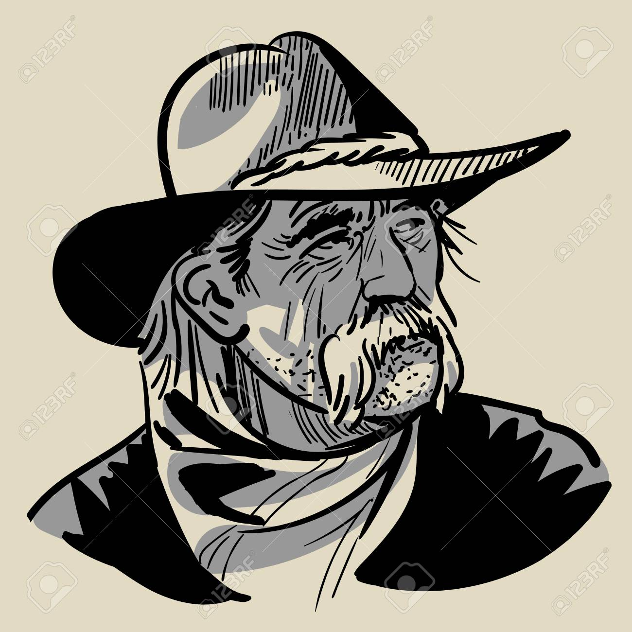 fdbee0608ec Old Cowboy with a hat. Portrait. Digital Sketch Hand Drawing Vector.  Illustration.