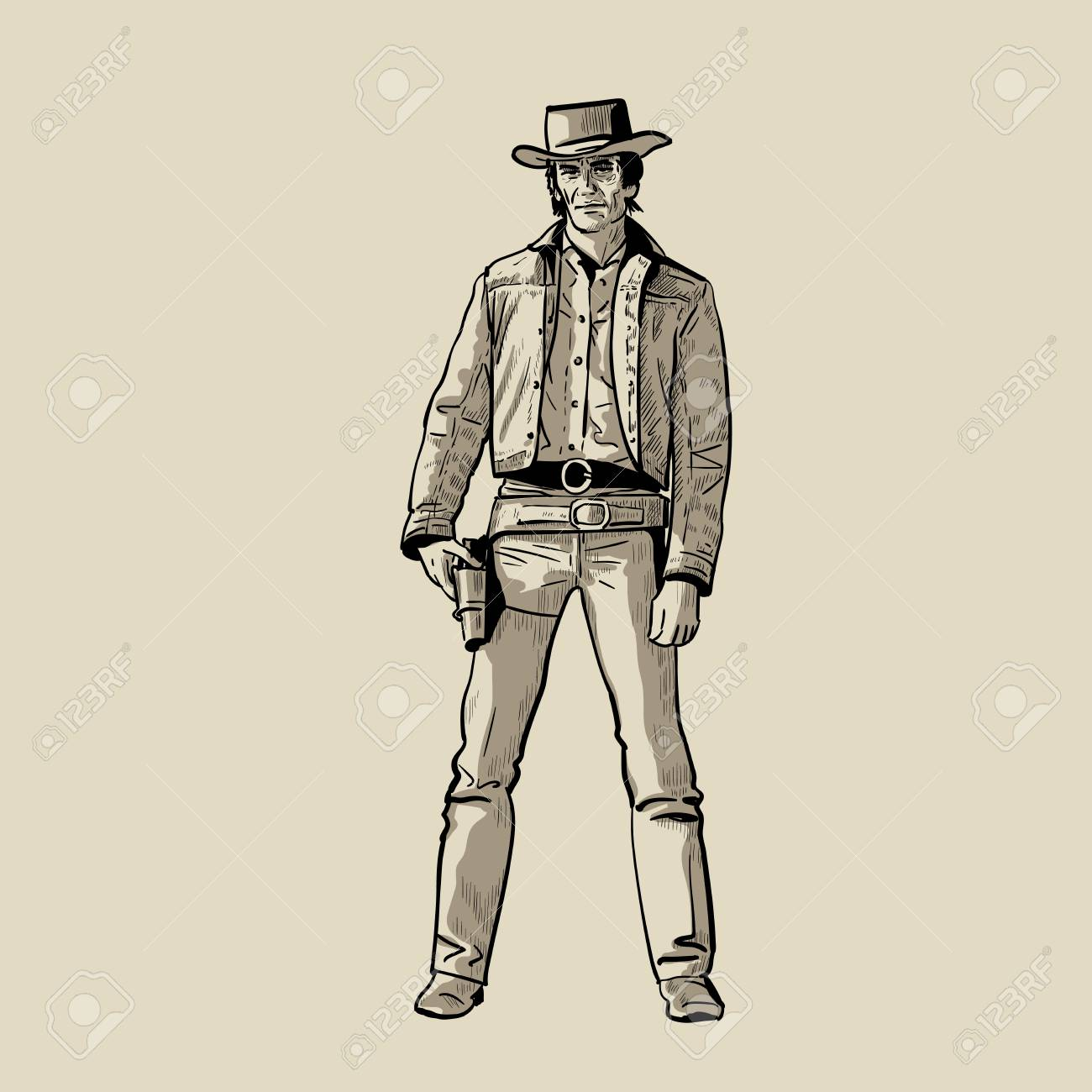 9191a296239 Man with cowboy hat and gun. Western Gunfighter. Digital sketch hand  drawing vector.