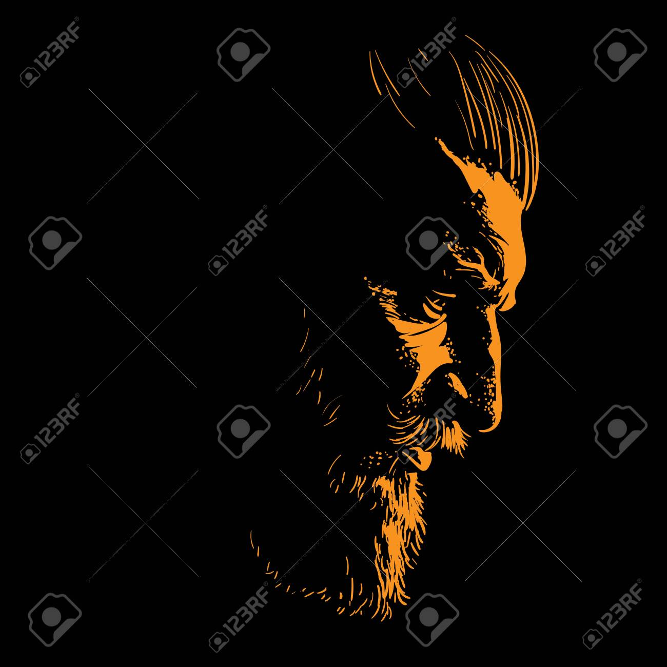 Brutal bearded man portrait in backlight. Vector - 133468113