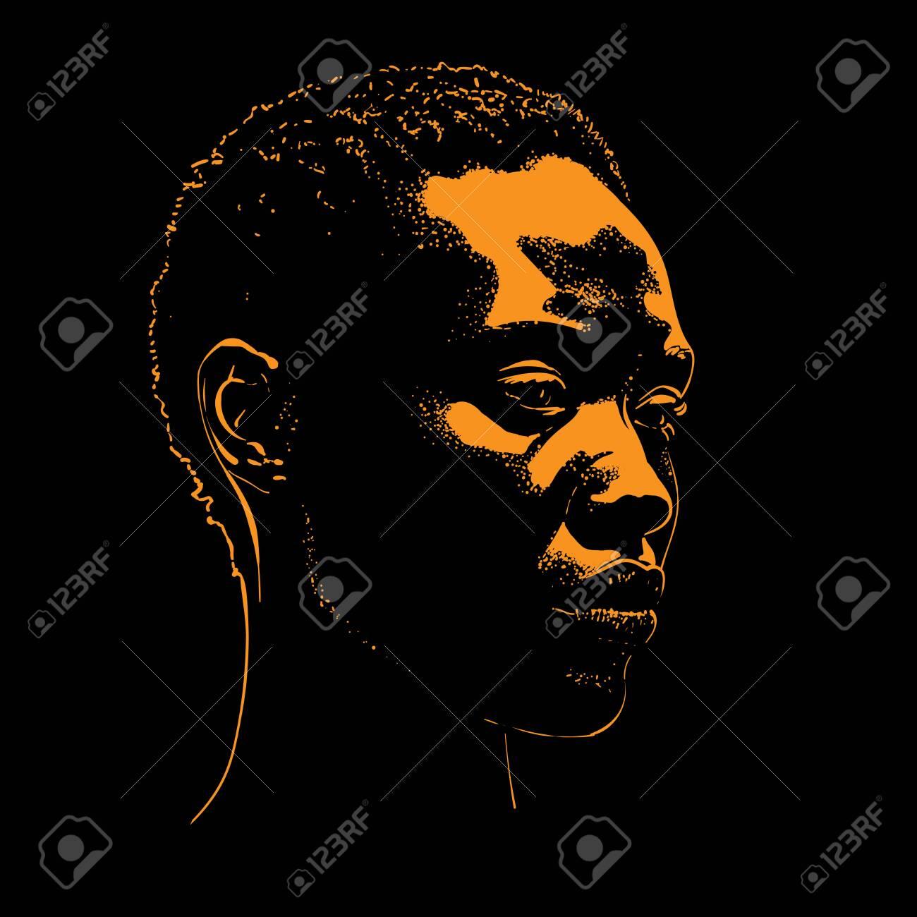 African woman portrait silhouette Vector. - 144792709