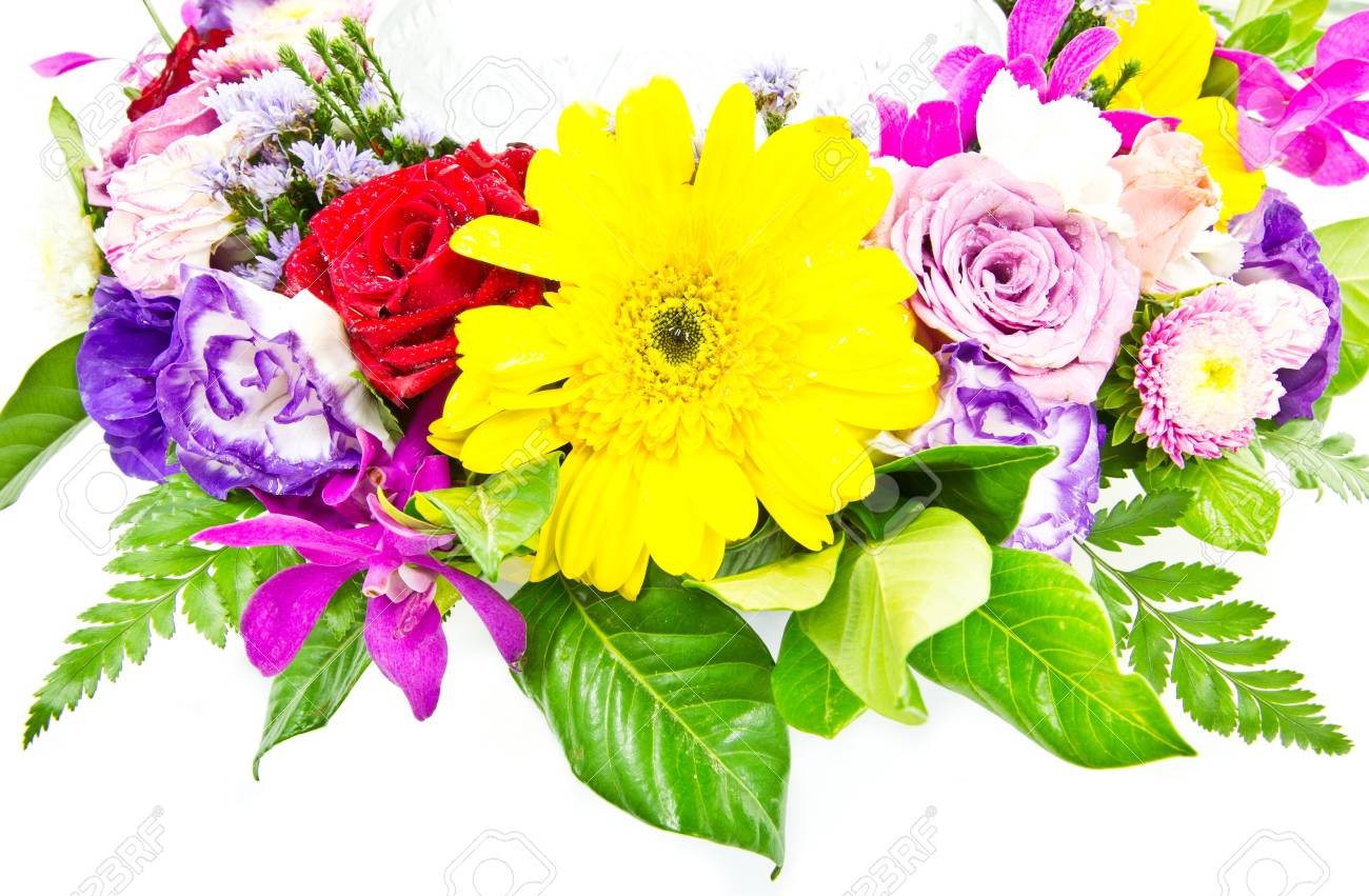 Mixed Colorful Flower Bouquets Isolated On White Background Stock ...