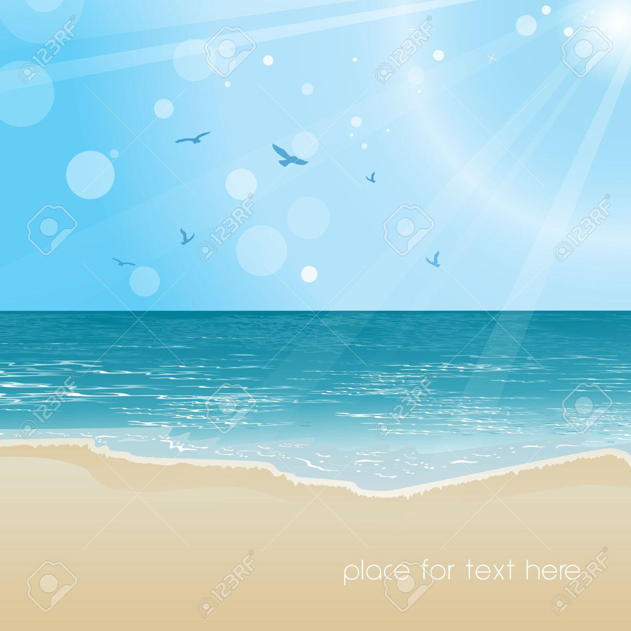 美しい海のビーチと空の背景イラスト ロイヤリティフリークリップ