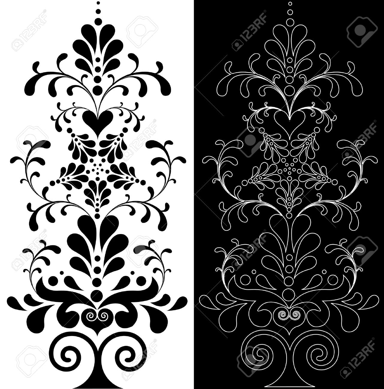 Beautiful Decoration Floral Design Element Royalty Free Cliparts