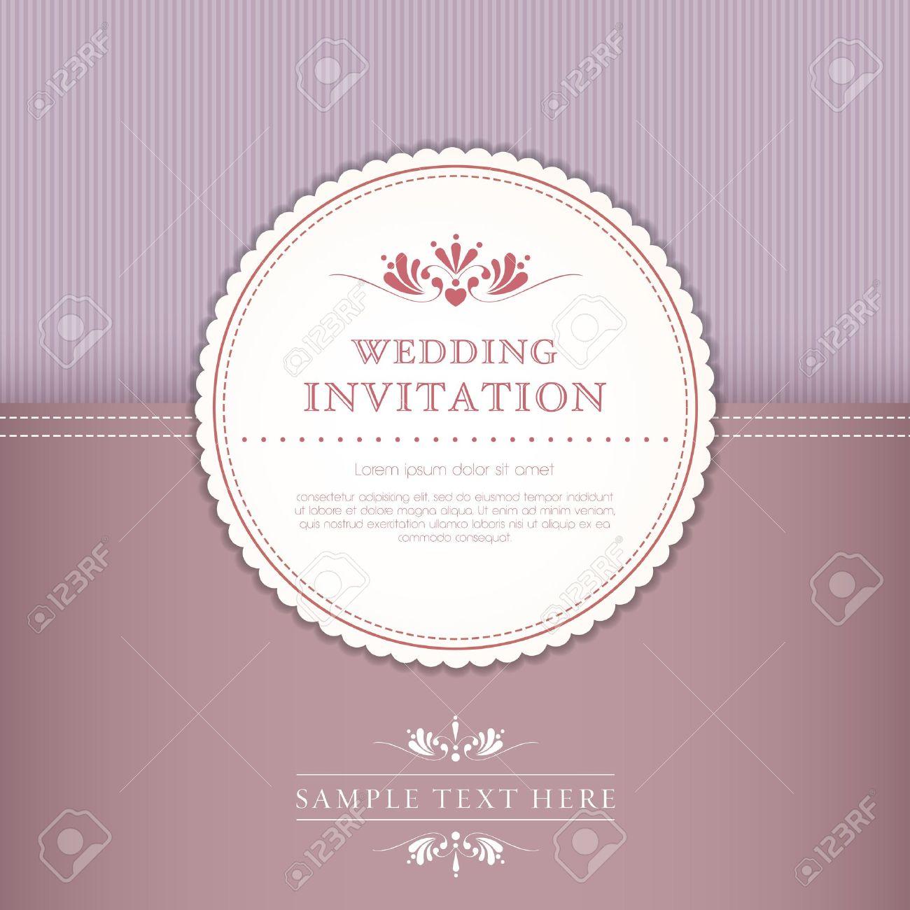 Hochzeit Karte Oder Einladung Mit Floral Ornament Hintergrund. Perfekt Als  Einladung Oder Ankündigung Lizenzfreie