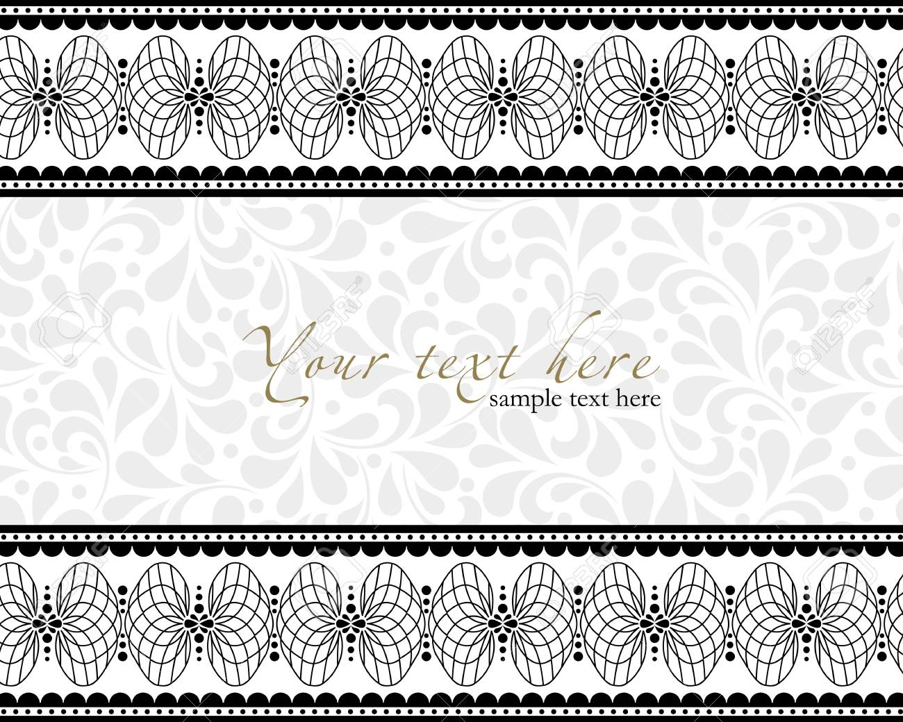 Detailed antique flowers template frame, design for vintage invitation card. Stock Vector - 24094735