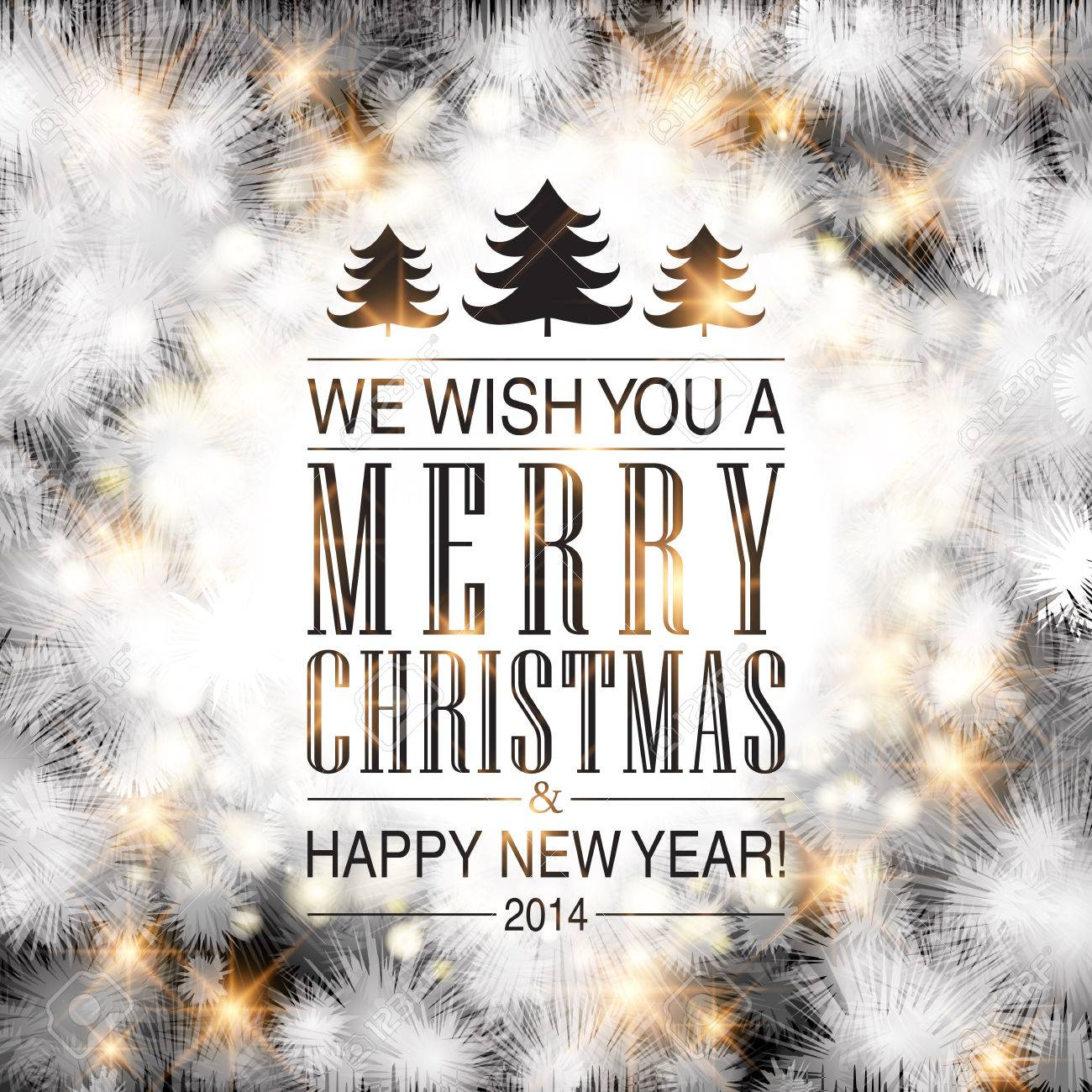 Elegant Glittery Merry Christmas And Happy New Year Card Design ...