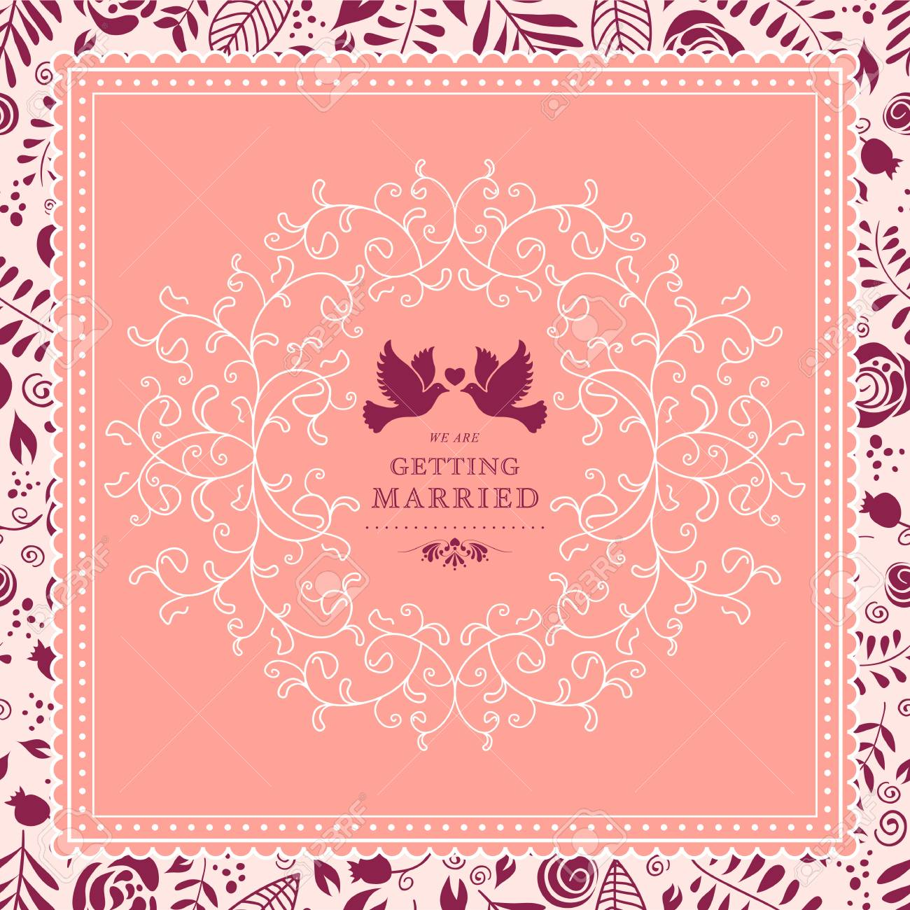 wedding card or invitation with floral ornament background royalty
