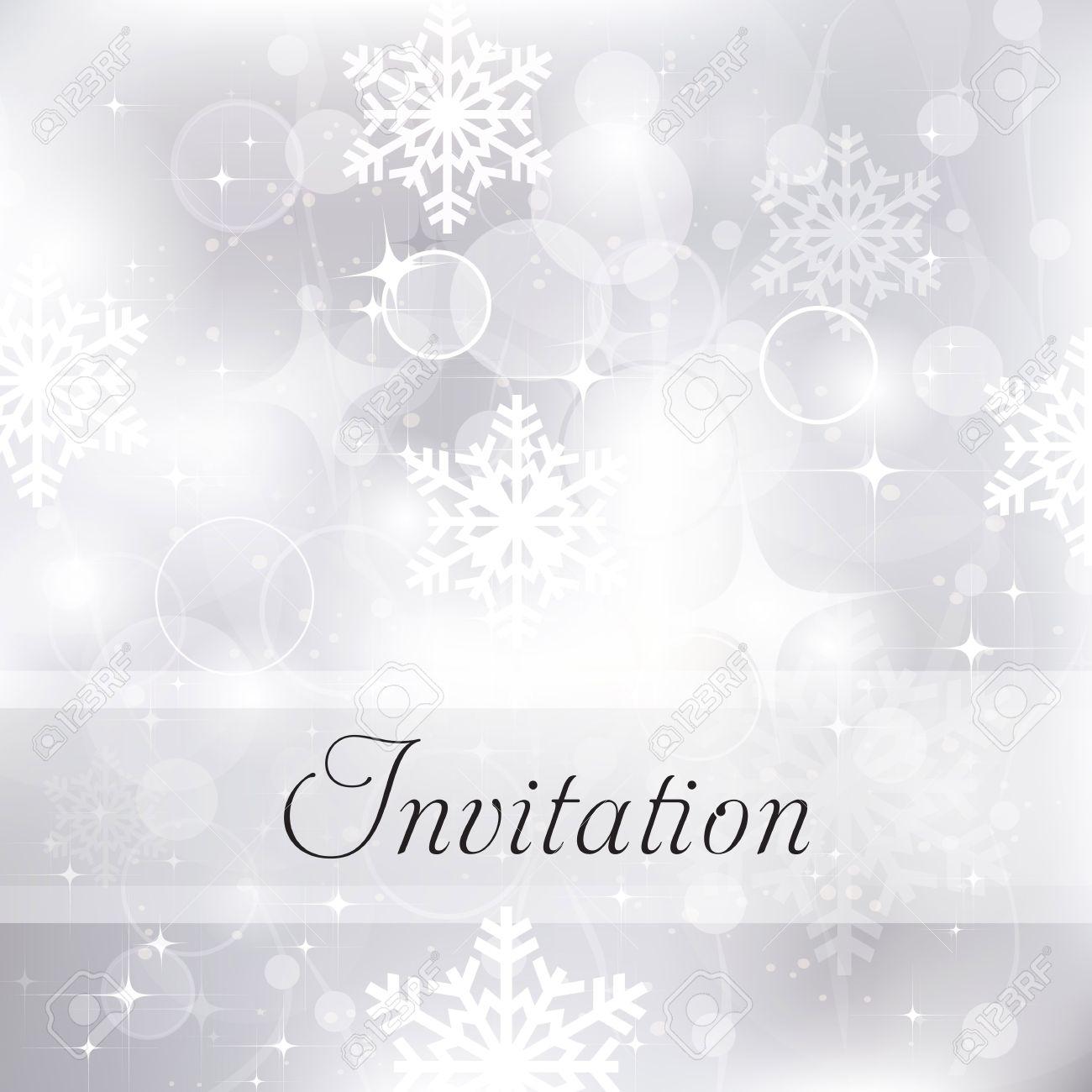 Glittery Silver Christmas Invitation Background Royalty Free ...