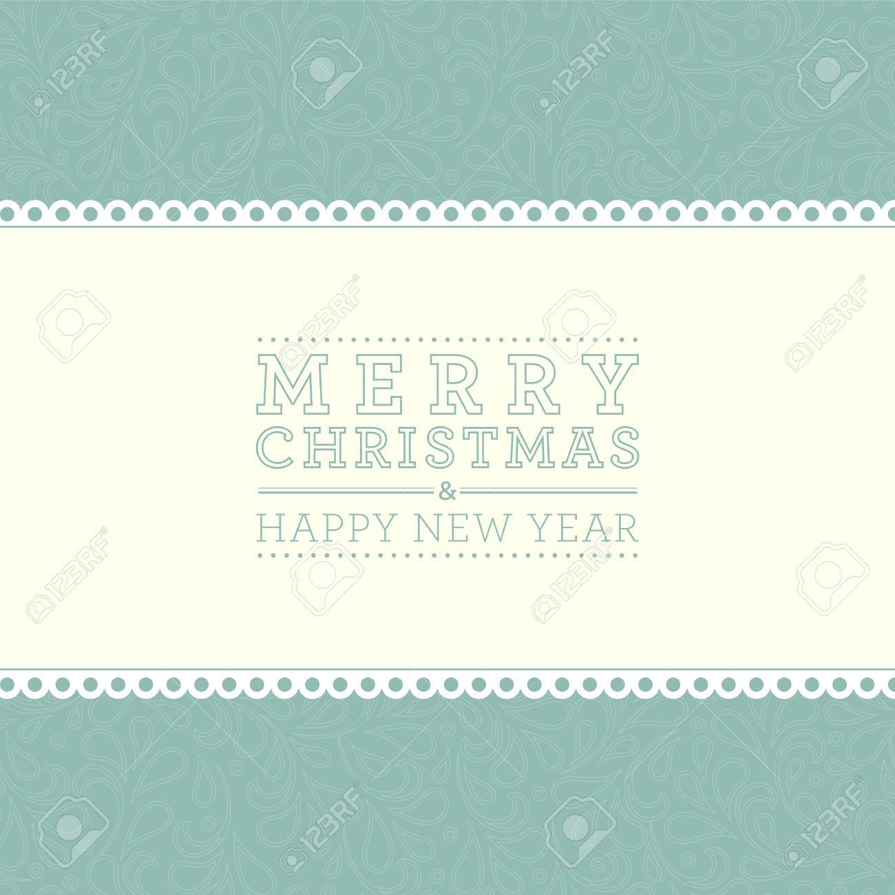 ornate damask background merry christmas and happy new year card design perfect as invitation