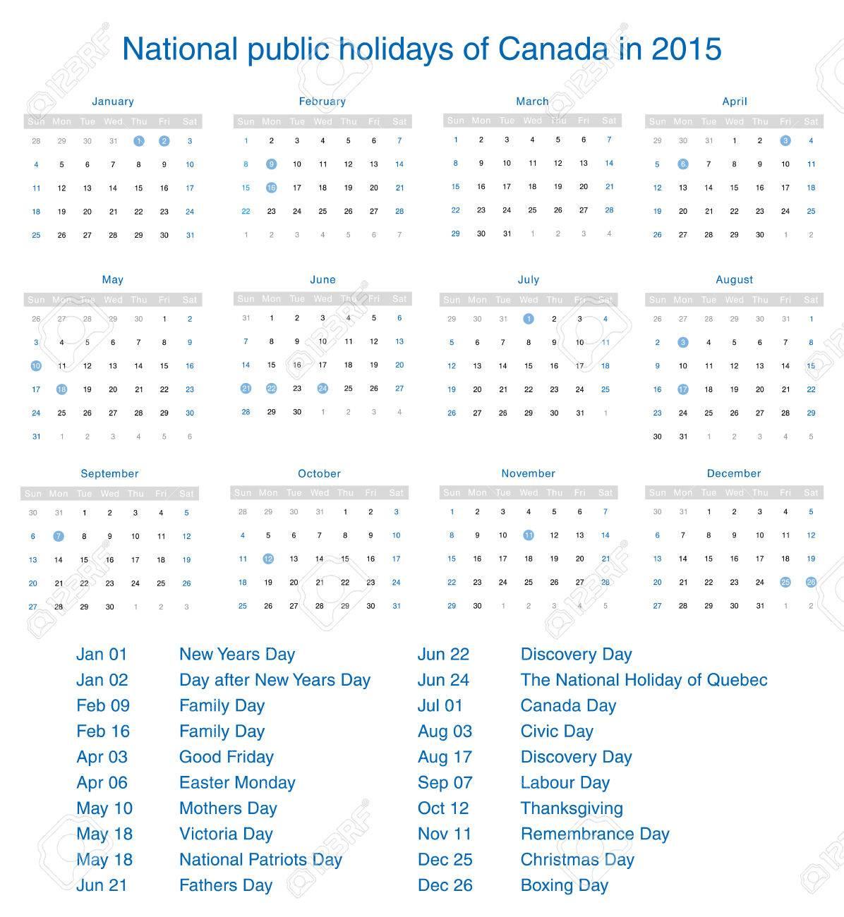 National Public Holidays Of Canada In 2015 Template Design Calendar