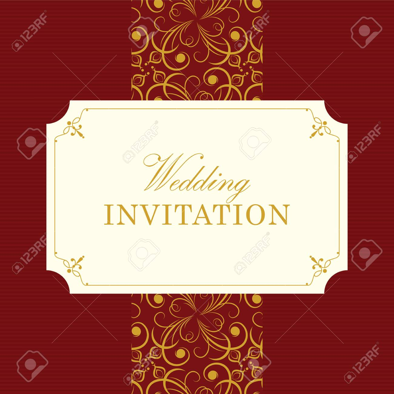 Wedding Card Or Invitation With Floral Ornament Background. Perfect ...