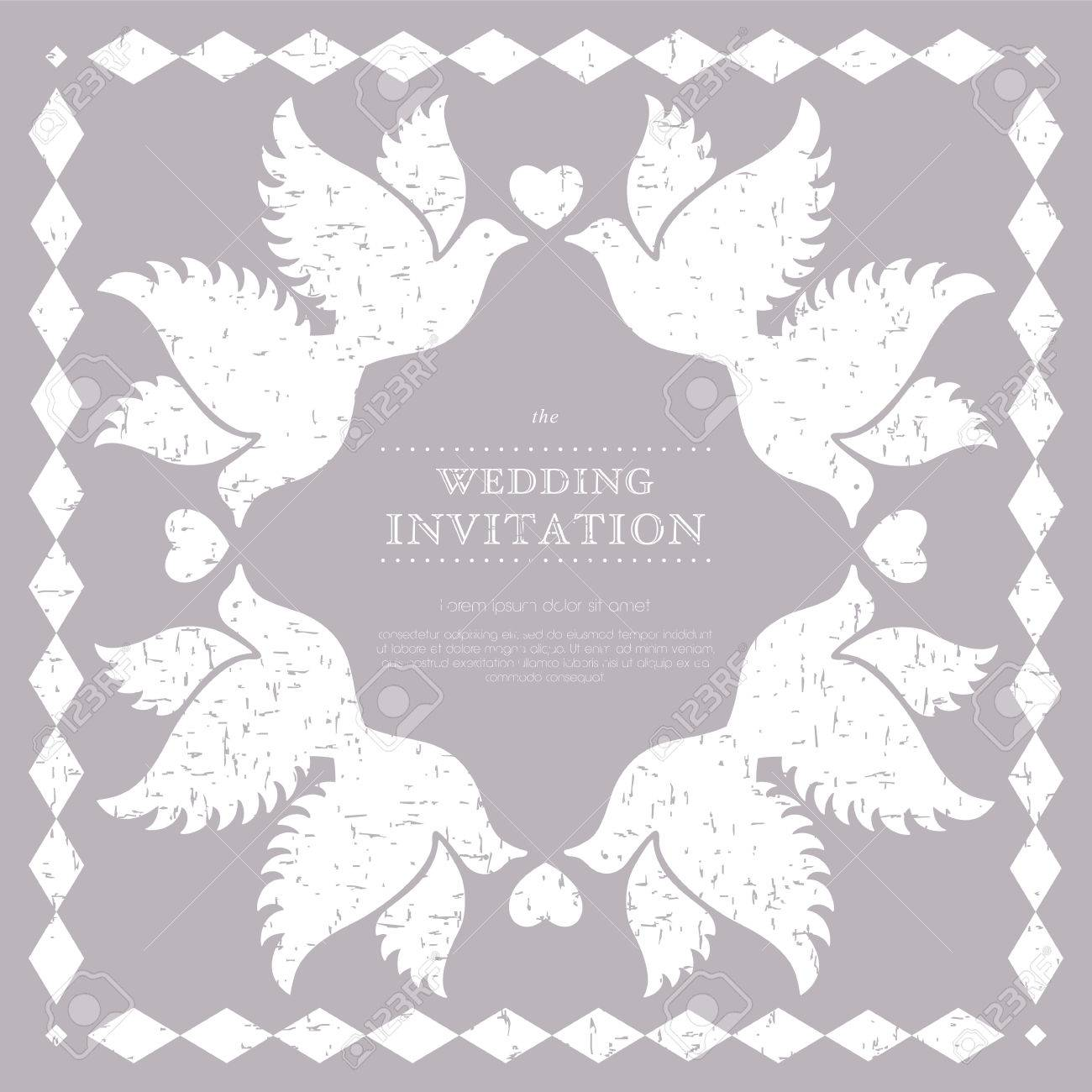 Cute Wedding Invitation Card With Vintage Ornament Background ...