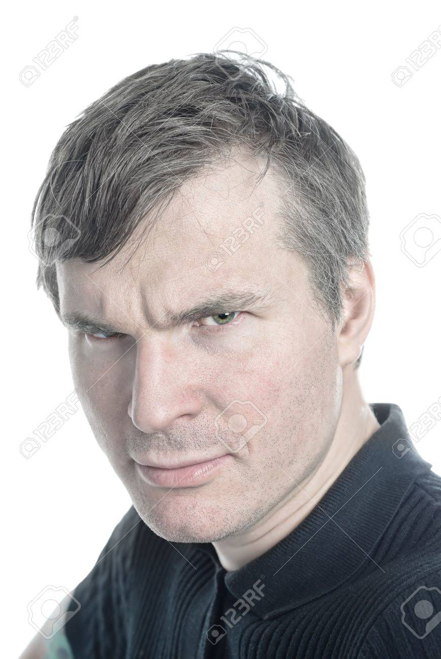 Gray Haired Man An Angry Glance From Beneath His Eyebrows Stock