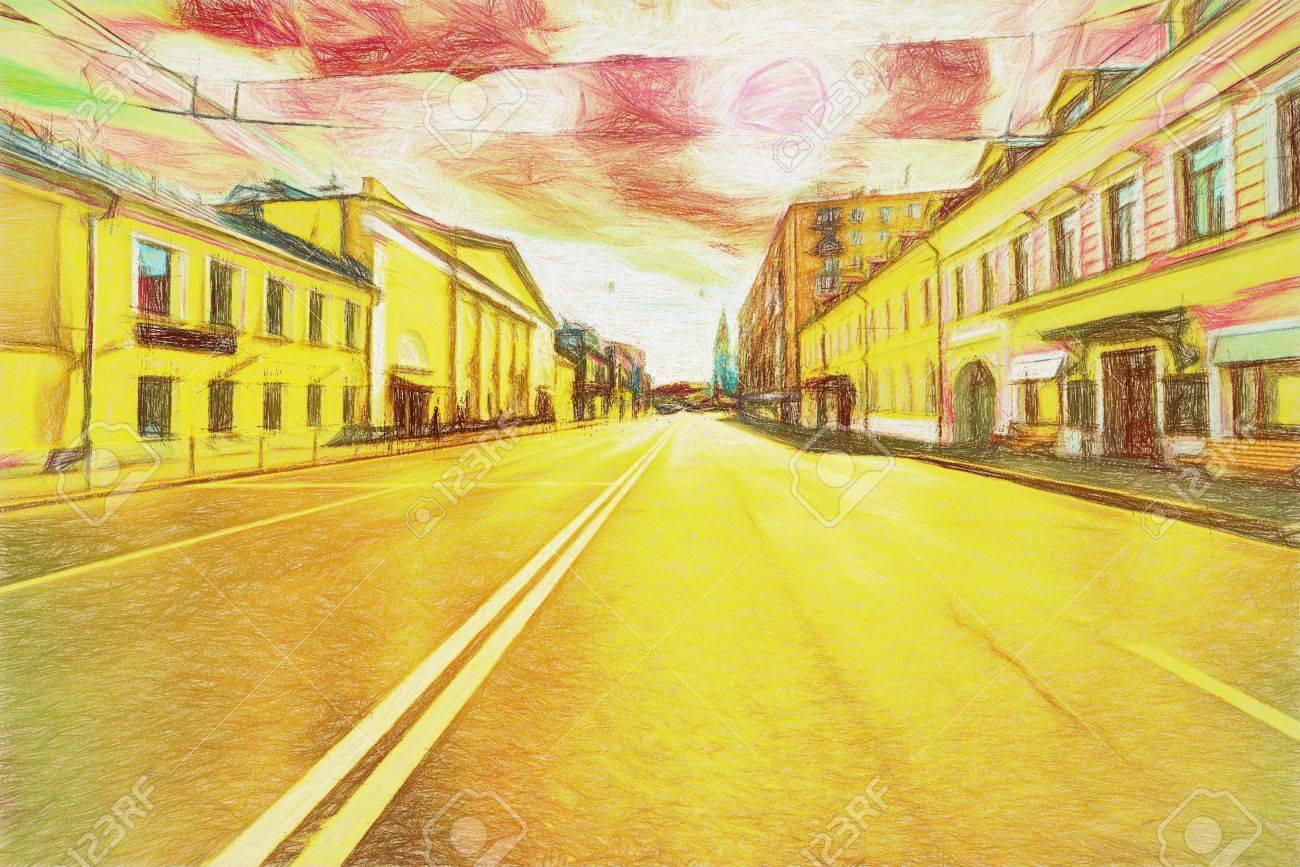 Ville Couleur: paysage urbain, pont, hiver, l'aube. Création peinture art papier peint futuriste. Numérique stylisation peinture à l'aquarelle.