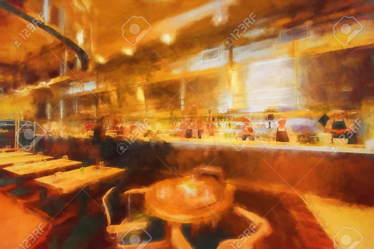 Stil Digitale Innen Cafe- Kunst Styling Pinsel Und Bleistift ...