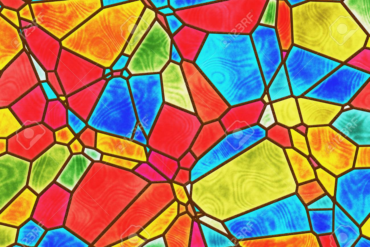 Stained Glass Abstract Drawing Randomly Arranged Geometric Shapes