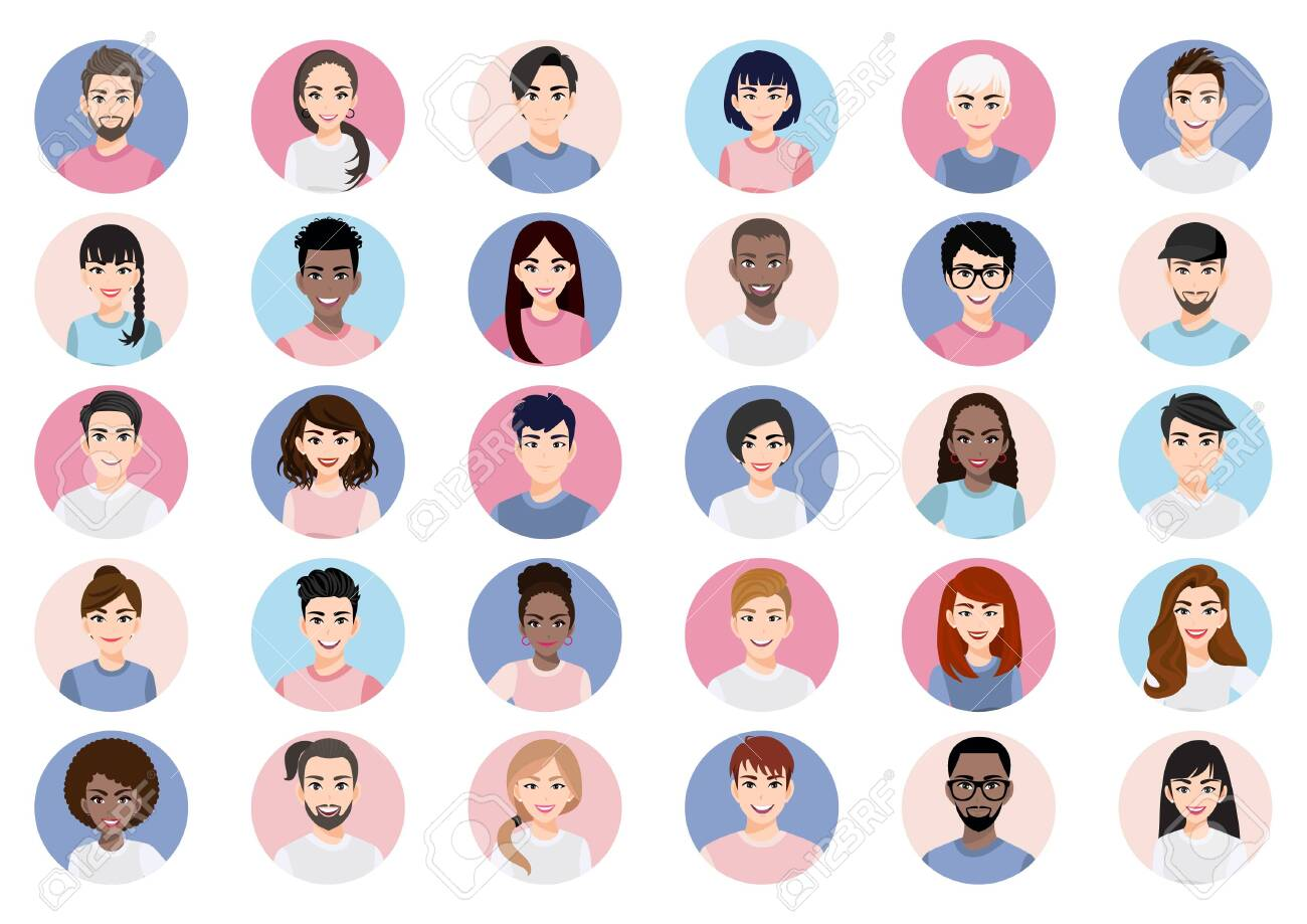Big bundle of different people avatars. Set of male and female portraits. Men and women avatar characters. User pic, face icons for representing person in a video game, Internet forum, account. Vector - 147411431