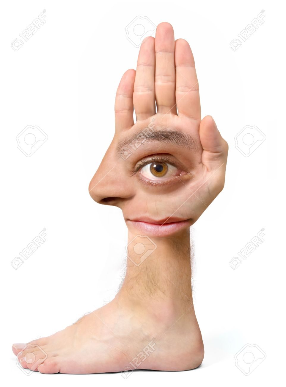 Very ugly face and comical create with the hand with an eye, an ear, the nose, the mouth and a foot Stock Photo - 1933377