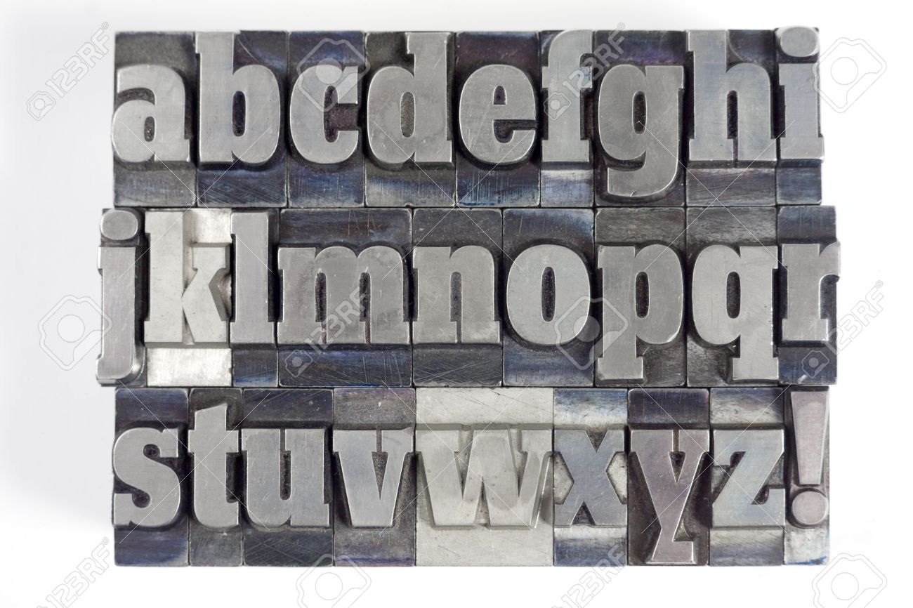 Printers Blocks With English Alphabet Lower Case Letters Stock