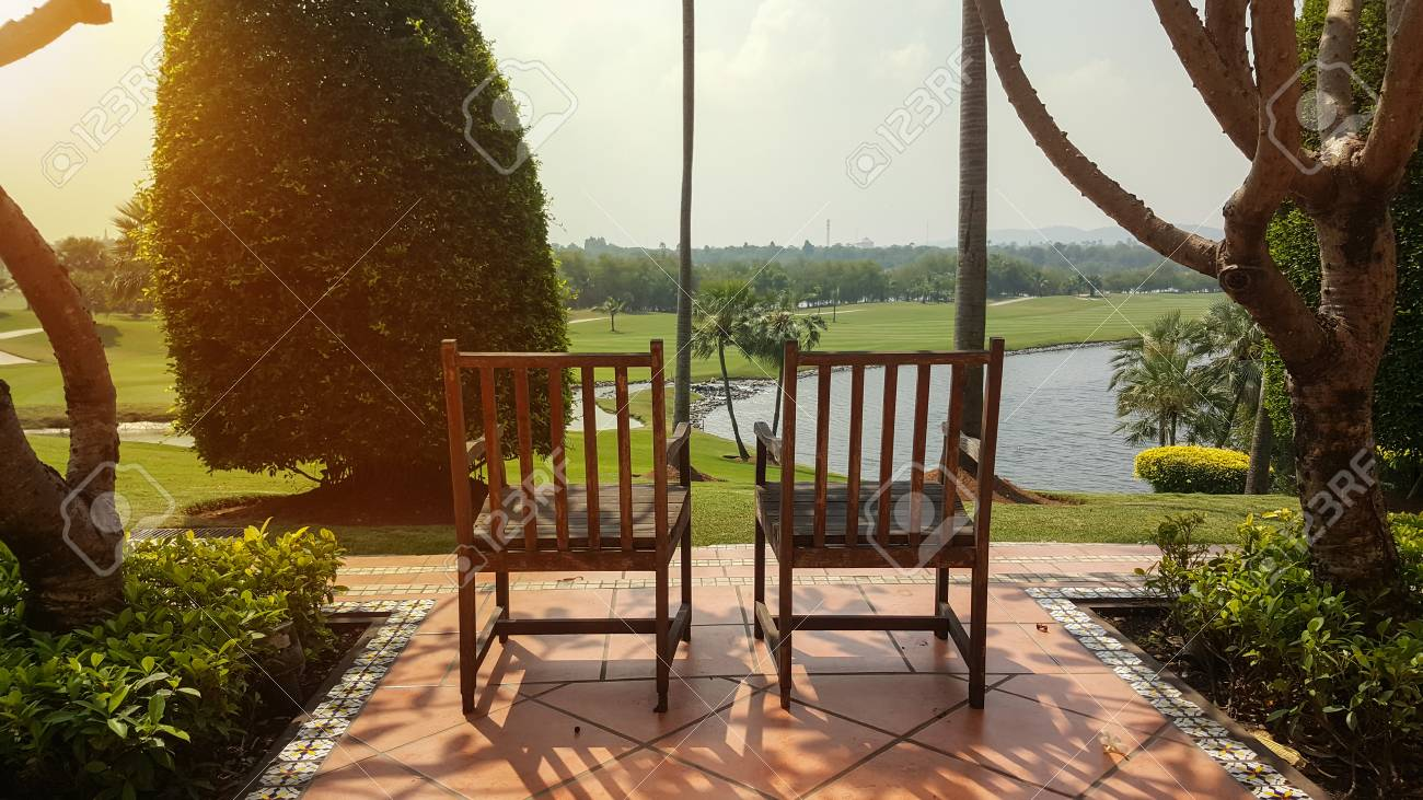 Chair In The Resort Hoel And Golf Club Field Stock Photo   62892984