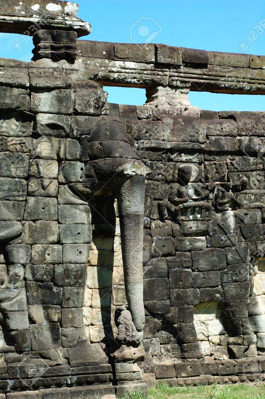 Sculptured statue at Terrace of the Elephant, Cambodia Stock Photo - 1778107