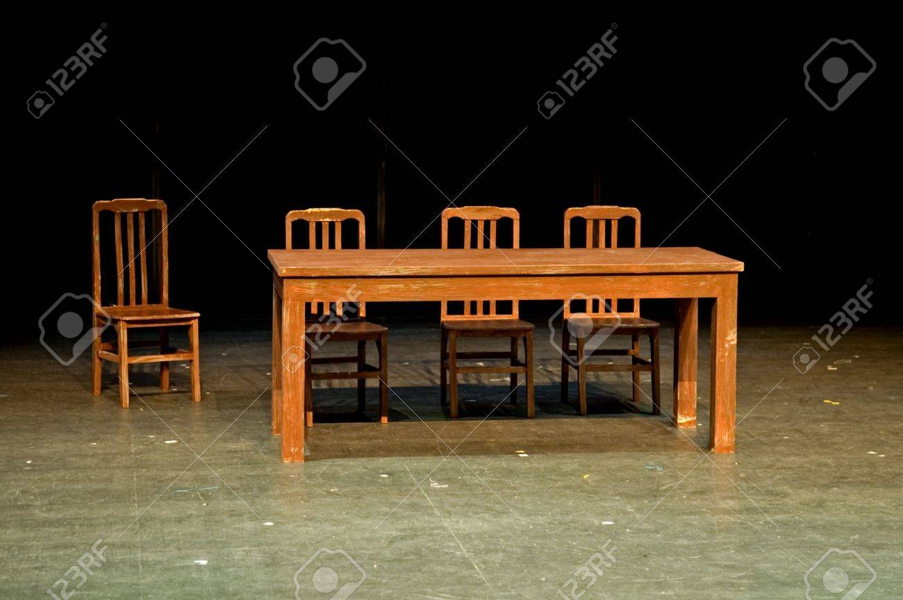 Ordinaire Stock Photo   The Theatrical Properties, Table And Chairs, On Stage
