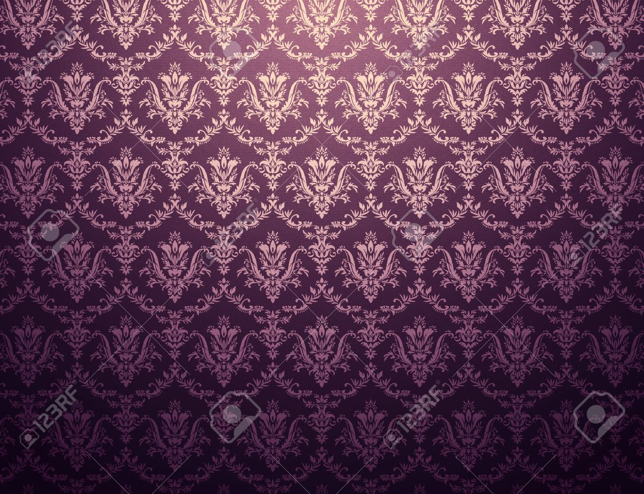 Dark Purple Wallpaper With Floral Pattern Stock Photo