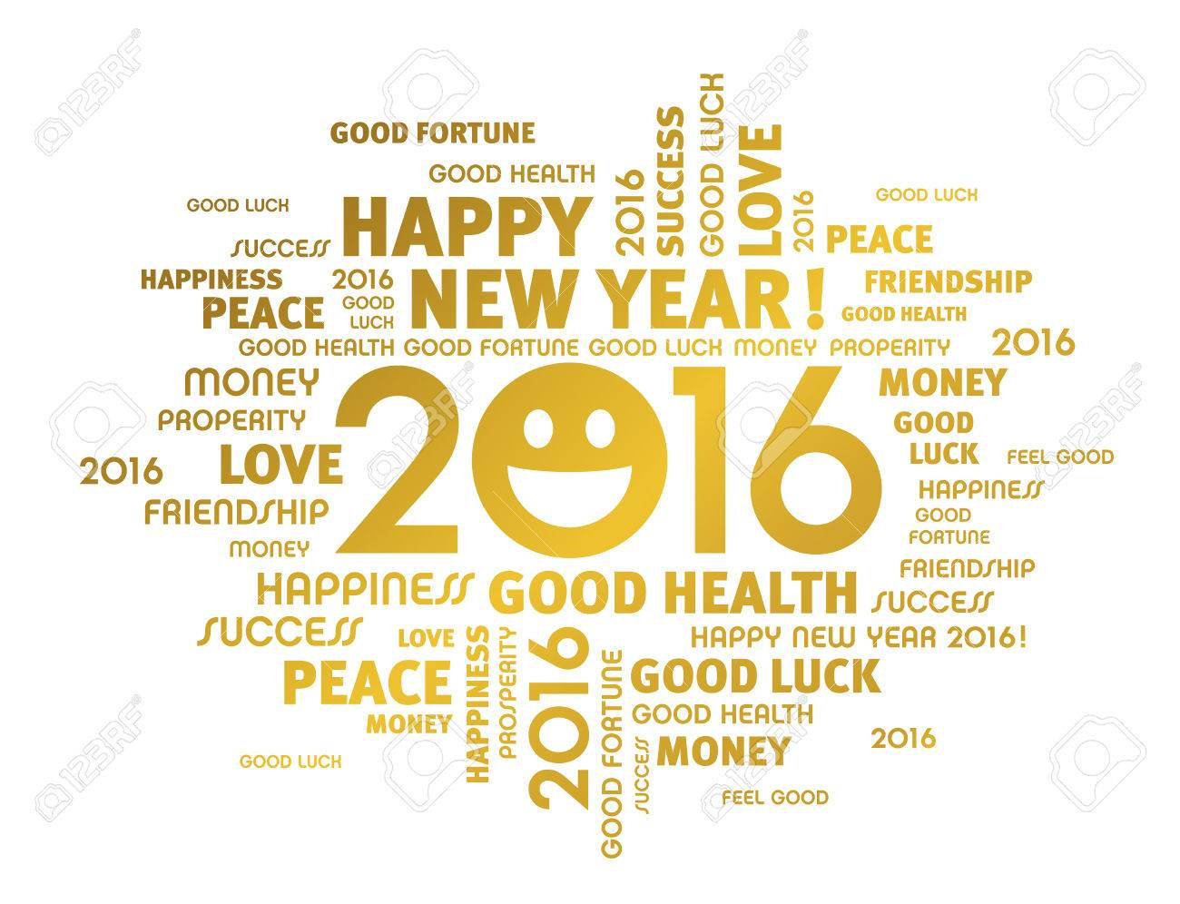 Gold Greeting Words Around 2016 Year Type With A Smiling Face ...