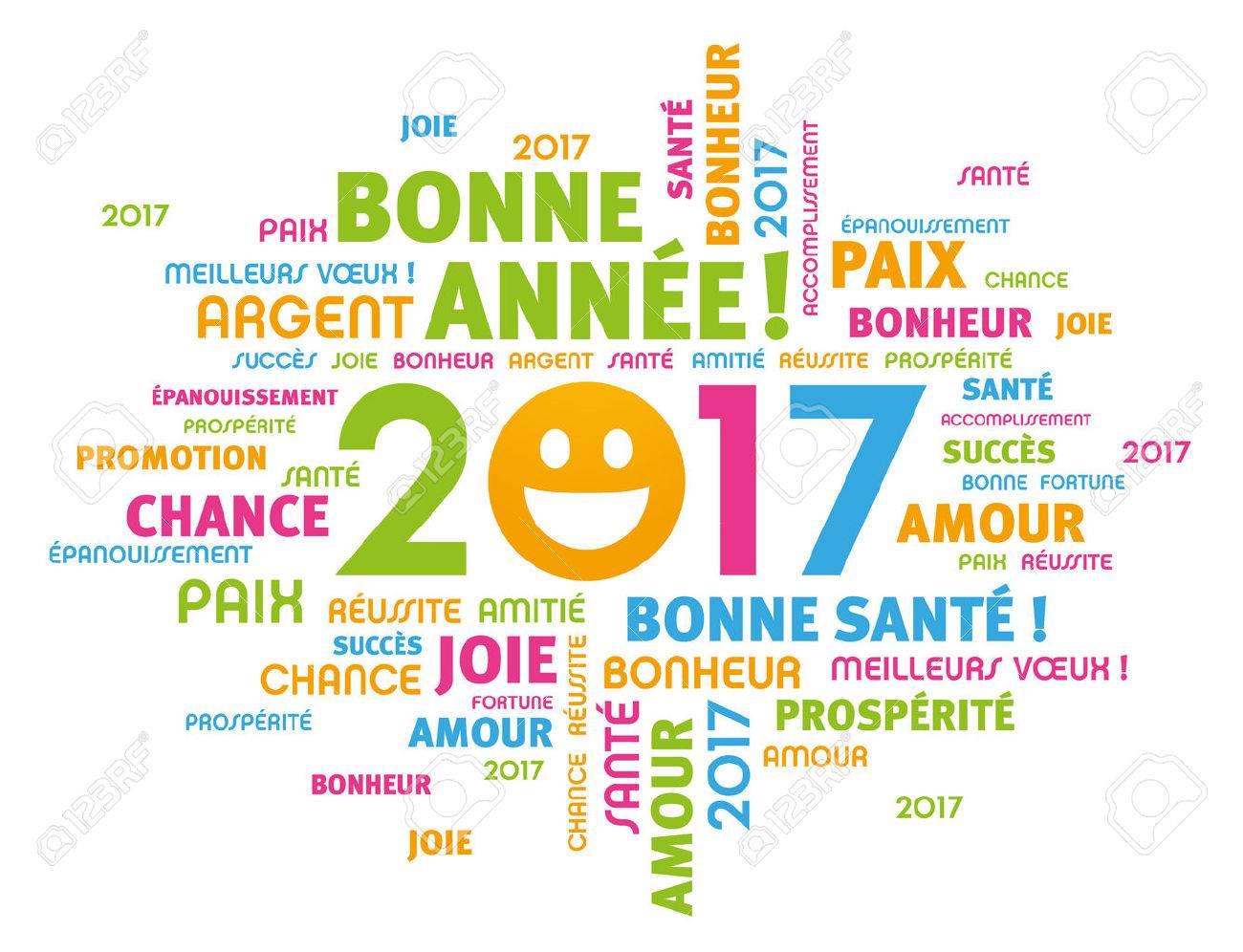 Kleurrijke Groet Frans Woorden Rond 2017 Het Type Jaar Met Een