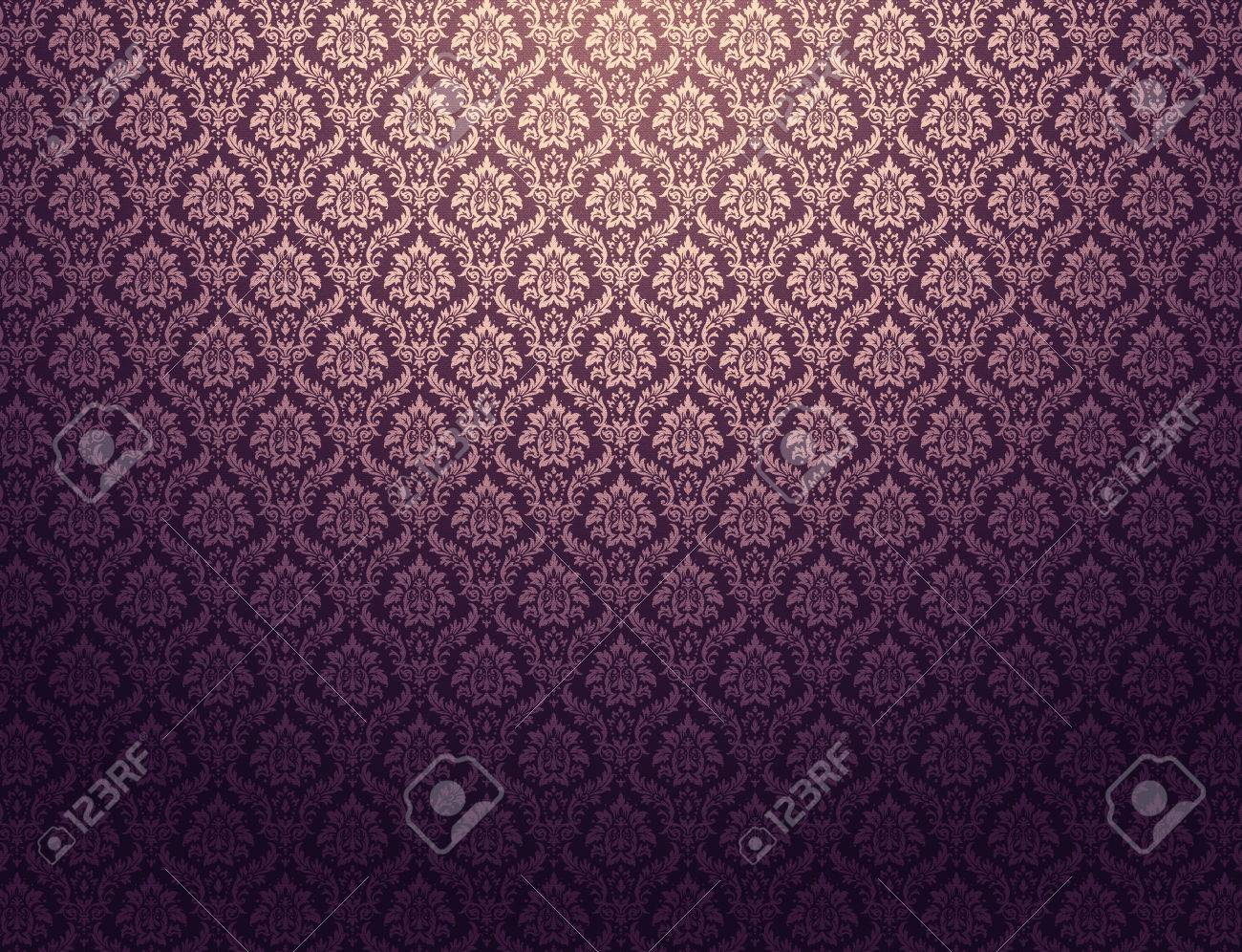 Purple Damask Wallpaper With Golden Floral Patterns Stock Photo