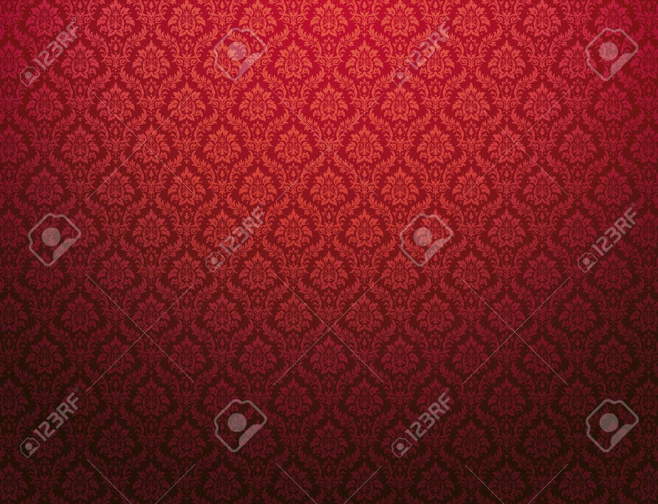 Red damask wallpaper with floral patterns - 70557917