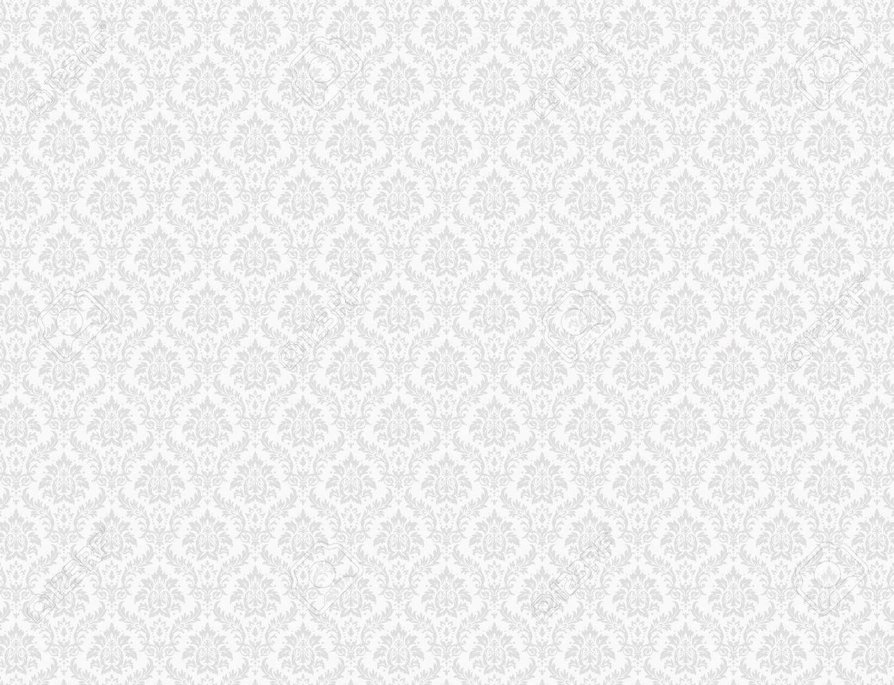 White Damask Wallpaper With Floral Patterns Stock Photo Picture